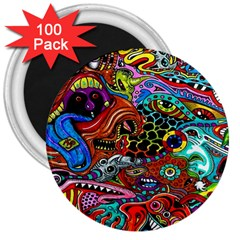 Vector Art Pattern 3  Magnets (100 Pack)