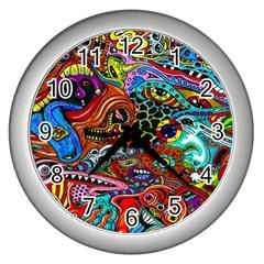 Vector Art Pattern Wall Clocks (silver)
