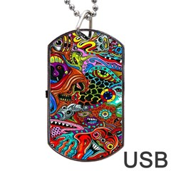 Vector Art Pattern Dog Tag Usb Flash (two Sides)