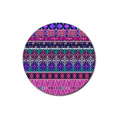 Tribal Seamless Aztec Pattern Rubber Round Coaster (4 Pack)