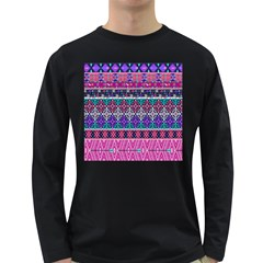 Tribal Seamless Aztec Pattern Long Sleeve Dark T Shirts