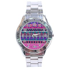 Tribal Seamless Aztec Pattern Stainless Steel Analogue Watch