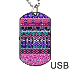 Tribal Seamless Aztec Pattern Dog Tag Usb Flash (one Side)