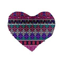 Tribal Seamless Aztec Pattern Standard 16  Premium Heart Shape Cushions