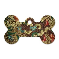 Traditional Batik Art Pattern Dog Tag Bone (one Side)