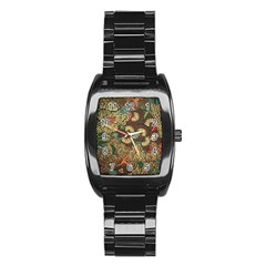 Traditional Batik Art Pattern Stainless Steel Barrel Watch