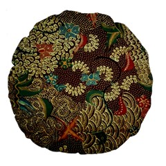 Traditional Batik Art Pattern Large 18  Premium Flano Round Cushions