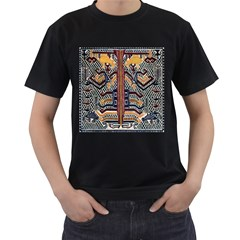 Traditional Batik Indonesia Pattern Men s T Shirt (black) (two Sided)