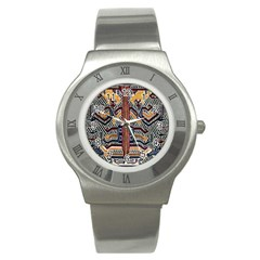 Traditional Batik Indonesia Pattern Stainless Steel Watch