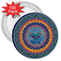 Traditional Pakistani Art 3  Buttons (100 Pack)