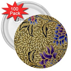 Traditional Art Batik Pattern 3  Buttons (100 Pack)