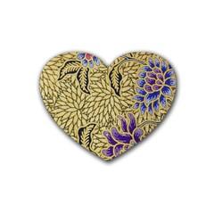 Traditional Art Batik Pattern Rubber Coaster (heart)