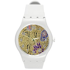 Traditional Art Batik Pattern Round Plastic Sport Watch (m)