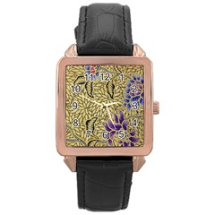 Traditional Art Batik Pattern Rose Gold Leather Watch