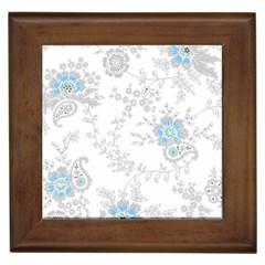 Traditional Art Batik Flower Pattern Framed Tiles