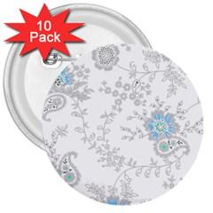 Traditional Art Batik Flower Pattern 3  Buttons (10 Pack)