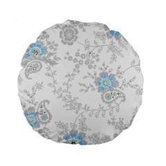 Traditional Art Batik Flower Pattern Standard 15  Premium Flano Round Cushions