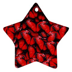 The Red Butterflies Sticking Together In The Nature Star Ornament (two Sides)