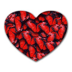 The Red Butterflies Sticking Together In The Nature Heart Mousepads