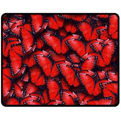 The Red Butterflies Sticking Together In The Nature Fleece Blanket (medium)
