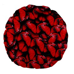 The Red Butterflies Sticking Together In The Nature Large 18  Premium Round Cushions