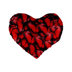 The Red Butterflies Sticking Together In The Nature Standard 16  Premium Heart Shape Cushions