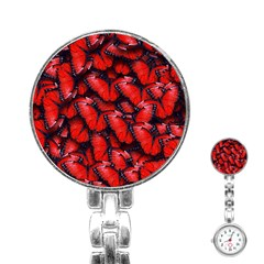 The Red Butterflies Sticking Together In The Nature Stainless Steel Nurses Watch