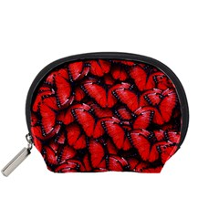 The Red Butterflies Sticking Together In The Nature Accessory Pouches (small)