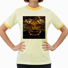 Tiger Face Women s Fitted Ringer T Shirts