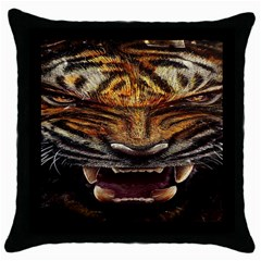 Tiger Face Throw Pillow Case (black)
