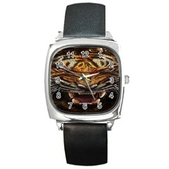 Tiger Face Square Metal Watch