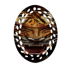 Tiger Face Oval Filigree Ornament (two Sides)