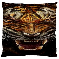 Tiger Face Large Cushion Case (two Sides)
