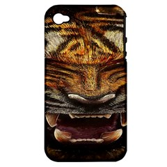 Tiger Face Apple Iphone 4/4s Hardshell Case (pc+silicone)