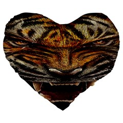 Tiger Face Large 19  Premium Heart Shape Cushions