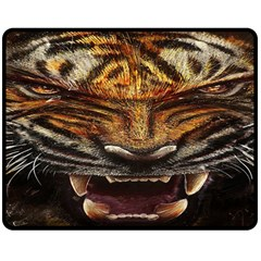 Tiger Face Double Sided Fleece Blanket (medium)