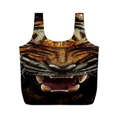 Tiger Face Full Print Recycle Bags (m)