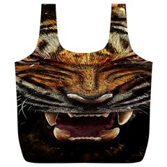 Tiger Face Full Print Recycle Bags (l)