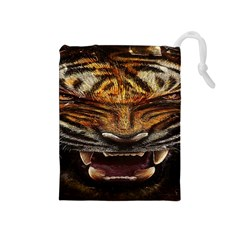 Tiger Face Drawstring Pouches (medium)