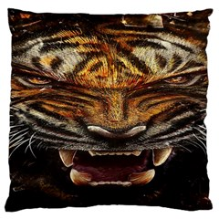 Tiger Face Standard Flano Cushion Case (one Side)