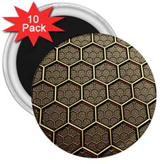 Texture Hexagon Pattern 3  Magnets (10 Pack)