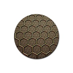 Texture Hexagon Pattern Rubber Round Coaster (4 Pack)