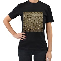 Texture Hexagon Pattern Women s T Shirt (black) (two Sided)