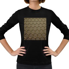 Texture Hexagon Pattern Women s Long Sleeve Dark T Shirts
