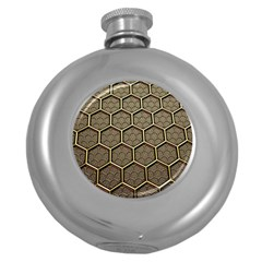 Texture Hexagon Pattern Round Hip Flask (5 Oz)