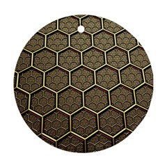 Texture Hexagon Pattern Round Ornament (two Sides)