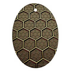 Texture Hexagon Pattern Oval Ornament (two Sides)