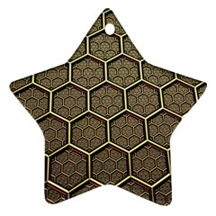 Texture Hexagon Pattern Star Ornament (two Sides)