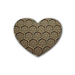 Texture Hexagon Pattern Rubber Coaster (heart)