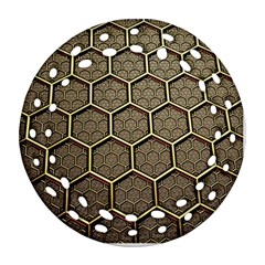 Texture Hexagon Pattern Round Filigree Ornament (two Sides)
